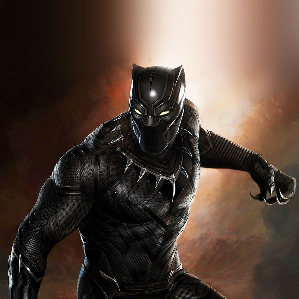 Black panther hero marvel art iPad wallpaper