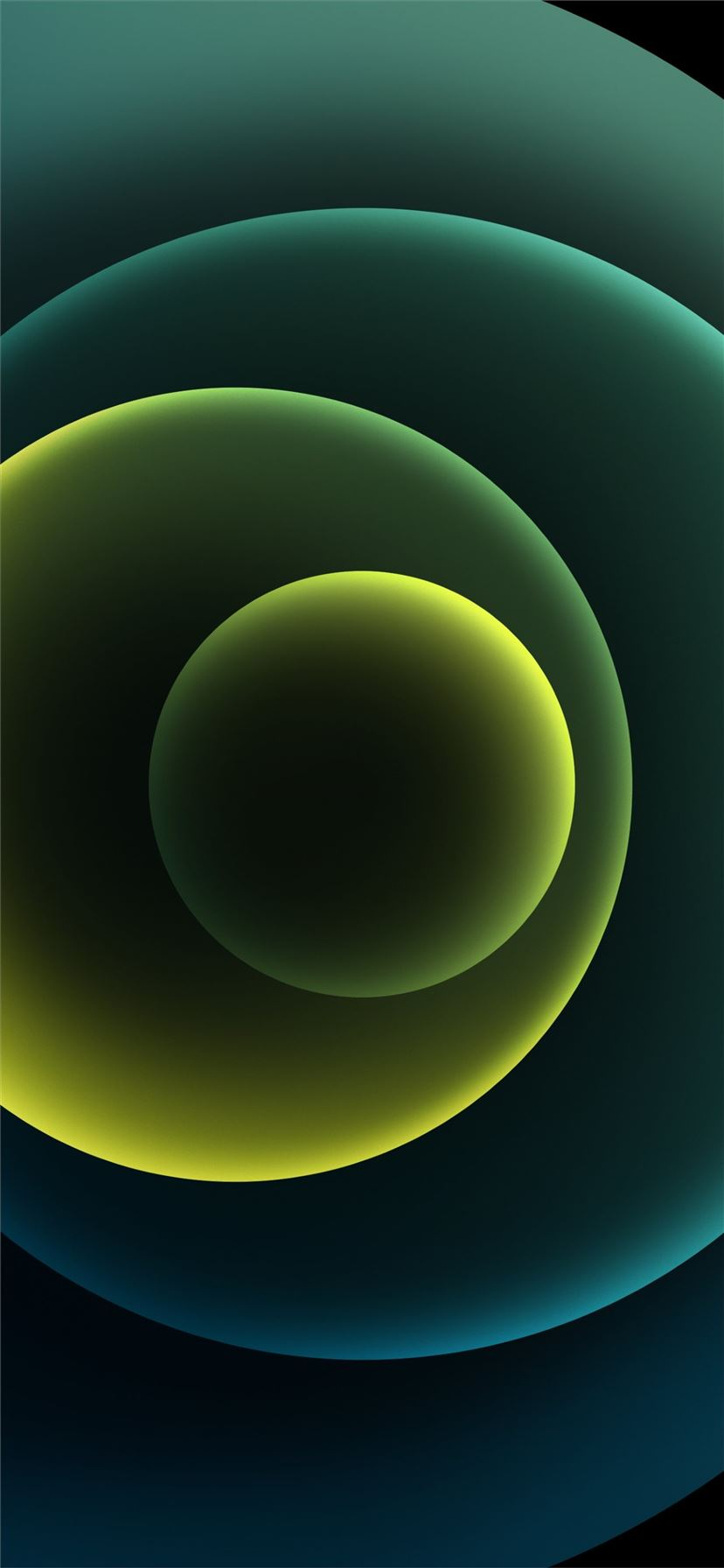 Colorful iPhone 12 Stock wallpaper Orbs Green Dark iPhone 11 wallpaper