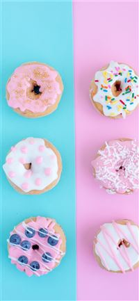 six assorted flavor doughnuts iPhone 11 wallpaper