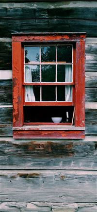 red wooden window frame iPhone 11 wallpaper