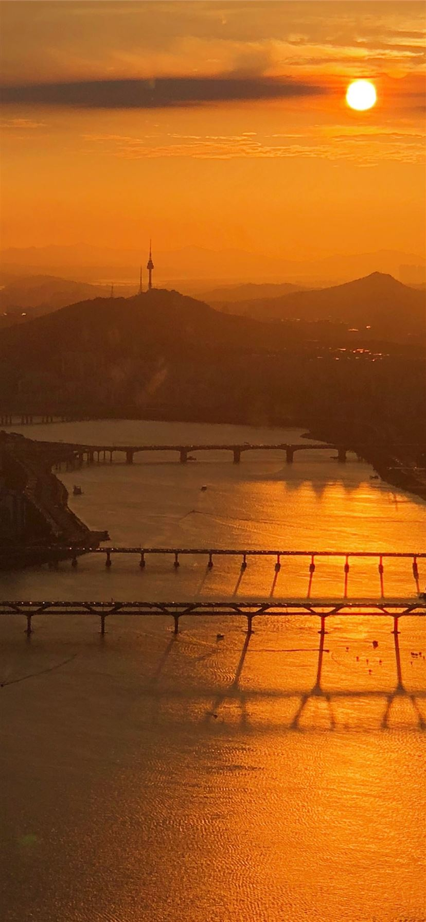 aerial view of bridges during sunset iPhone 11 wallpaper