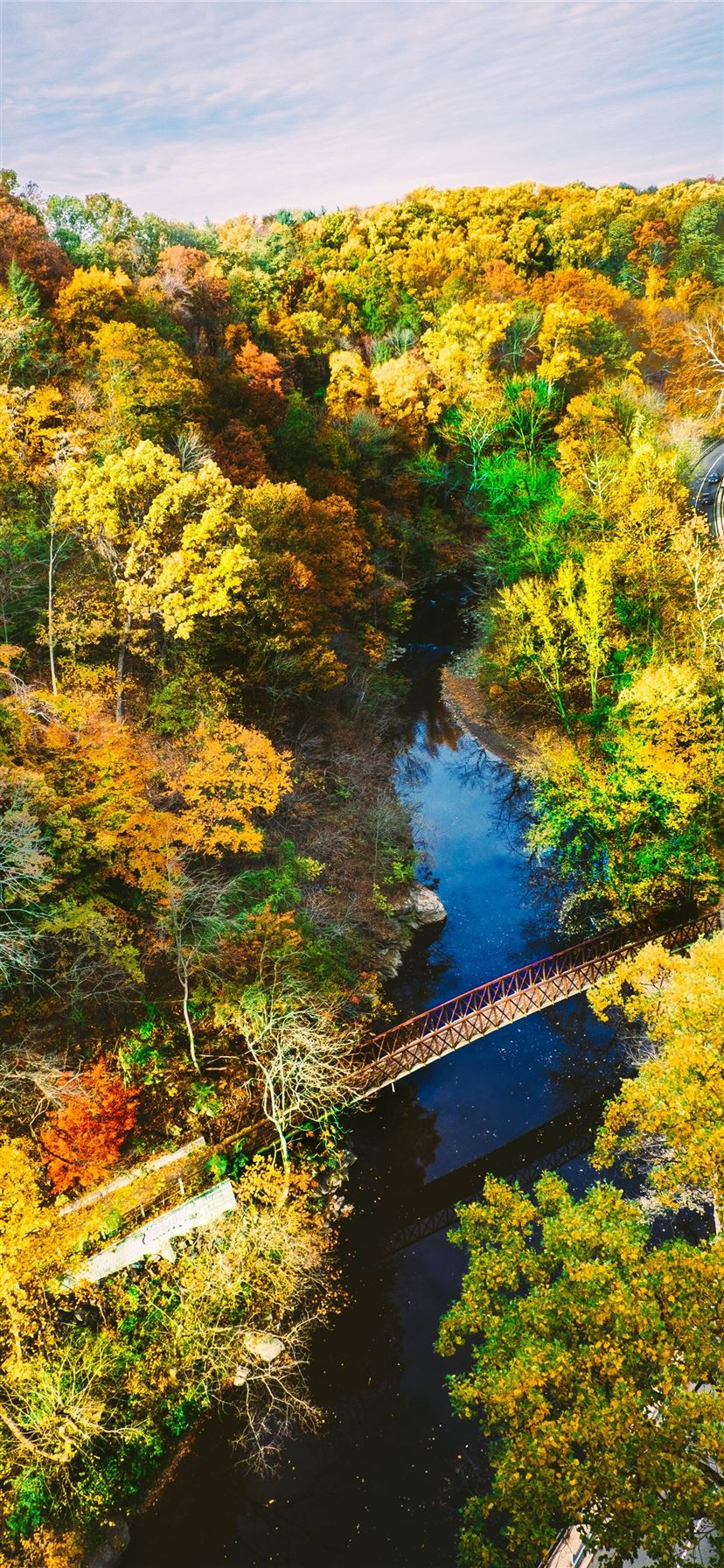 aerial photography of brown metal bridge surrounde... iPhone 11 wallpaper