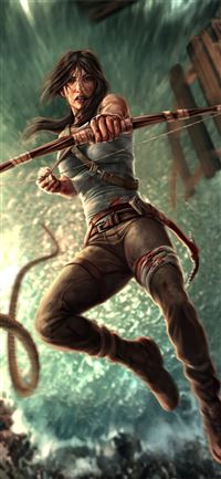 lara croft with bow and arrow iPhone 11 wallpaper