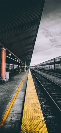 selective color photography of train railways iPhone 11 wallpaper