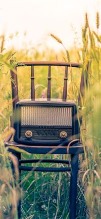 black transistor radio in the middle of the field iPhone 11 wallpaper