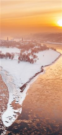 kaunas river city winter snow sunlight iPhone 11 wallpaper