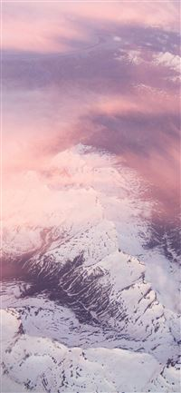 white mountains pink clouds 5k iPhone 11 wallpaper