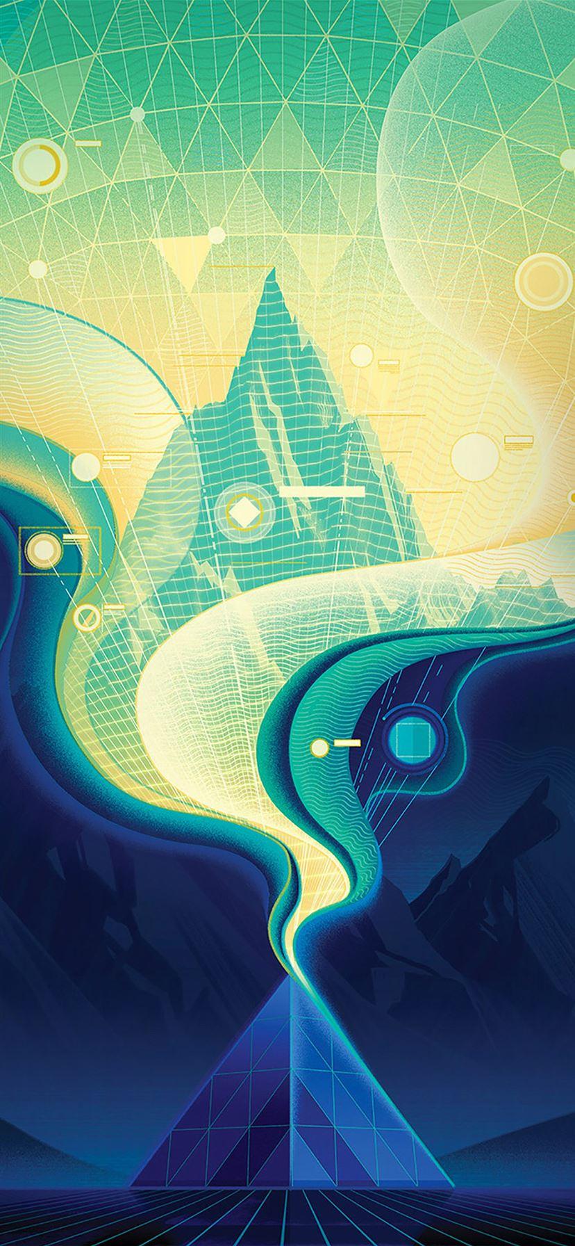 Digital abstract road blue illustration art iPhone X ...
