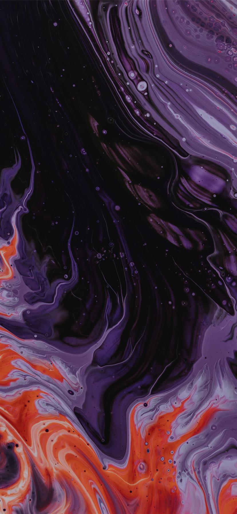 Purple Black And Orange Abstract Paintin Iphone Wallpapers