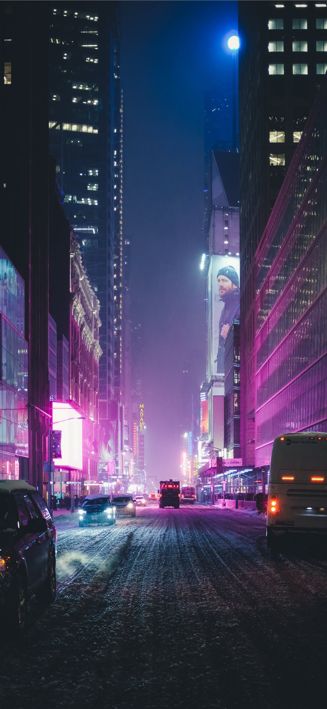 Neon New York Under The Snow Iphone 11 Wallpapers Free Download