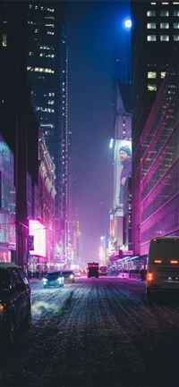 Neon New York under the Snow iPhone 11 wallpaper