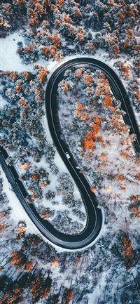 aerial photography of wavy road iPhone 11 wallpaper