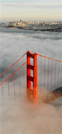 aerial photography of foggy red bridge iPhone 11 wallpaper
