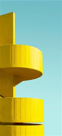 yellow building parking ramp iPhone 11 wallpaper