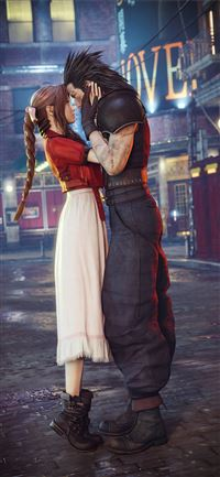 aerith gainsborough and cloud strife final fantasy... iPhone 11 wallpaper