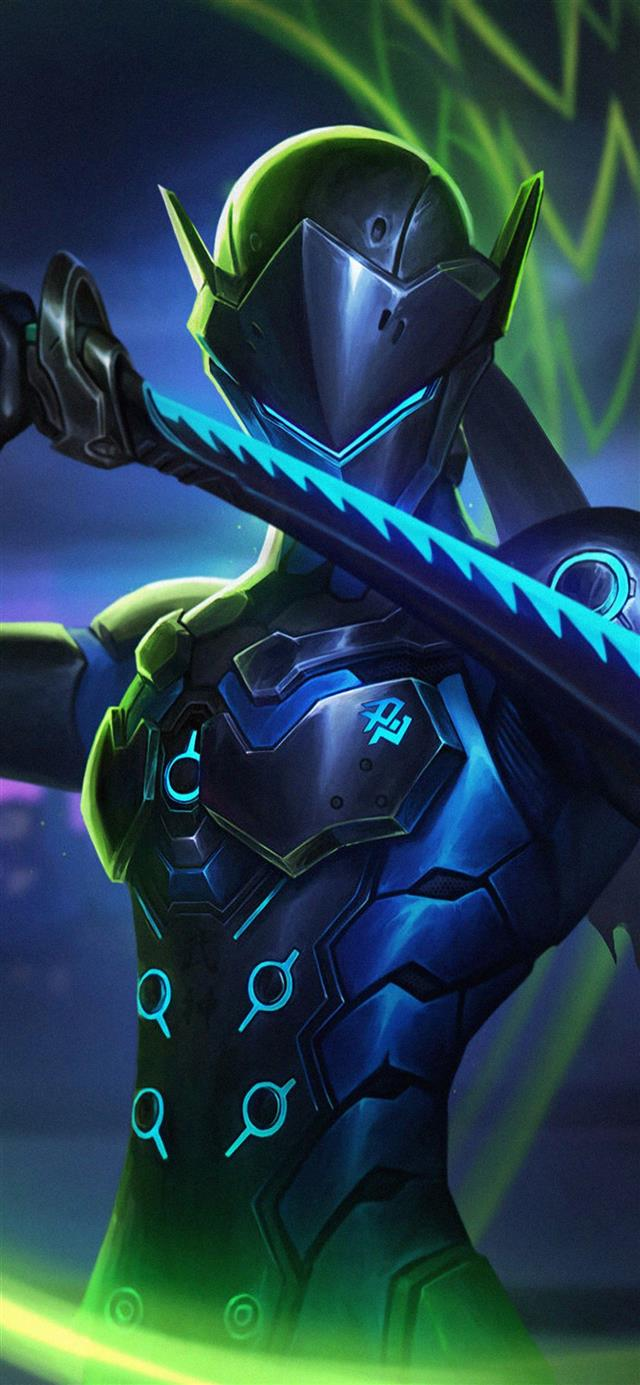 genji overwatch art 4k iPhone 12 wallpaper