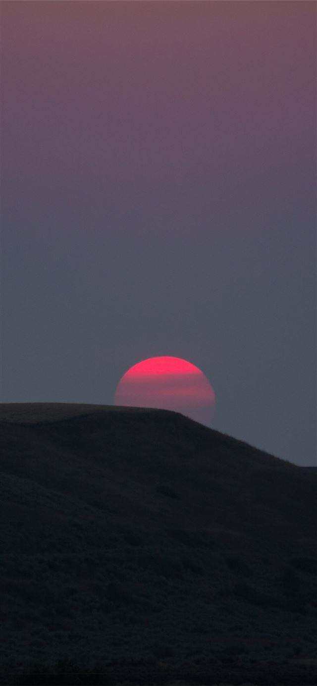 red sun landscape sunset dark 5k iPhone 12 wallpaper