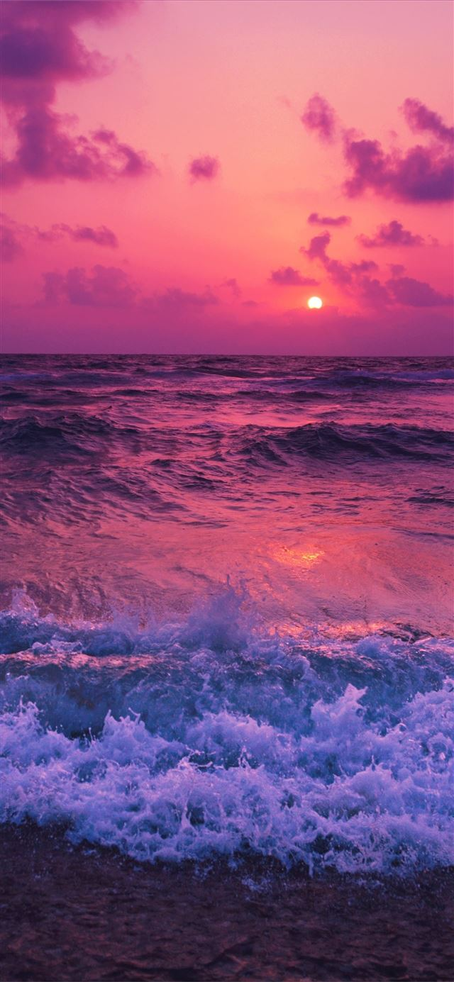 sunset waves red 5k iPhone 12 Wallpapers Free Download