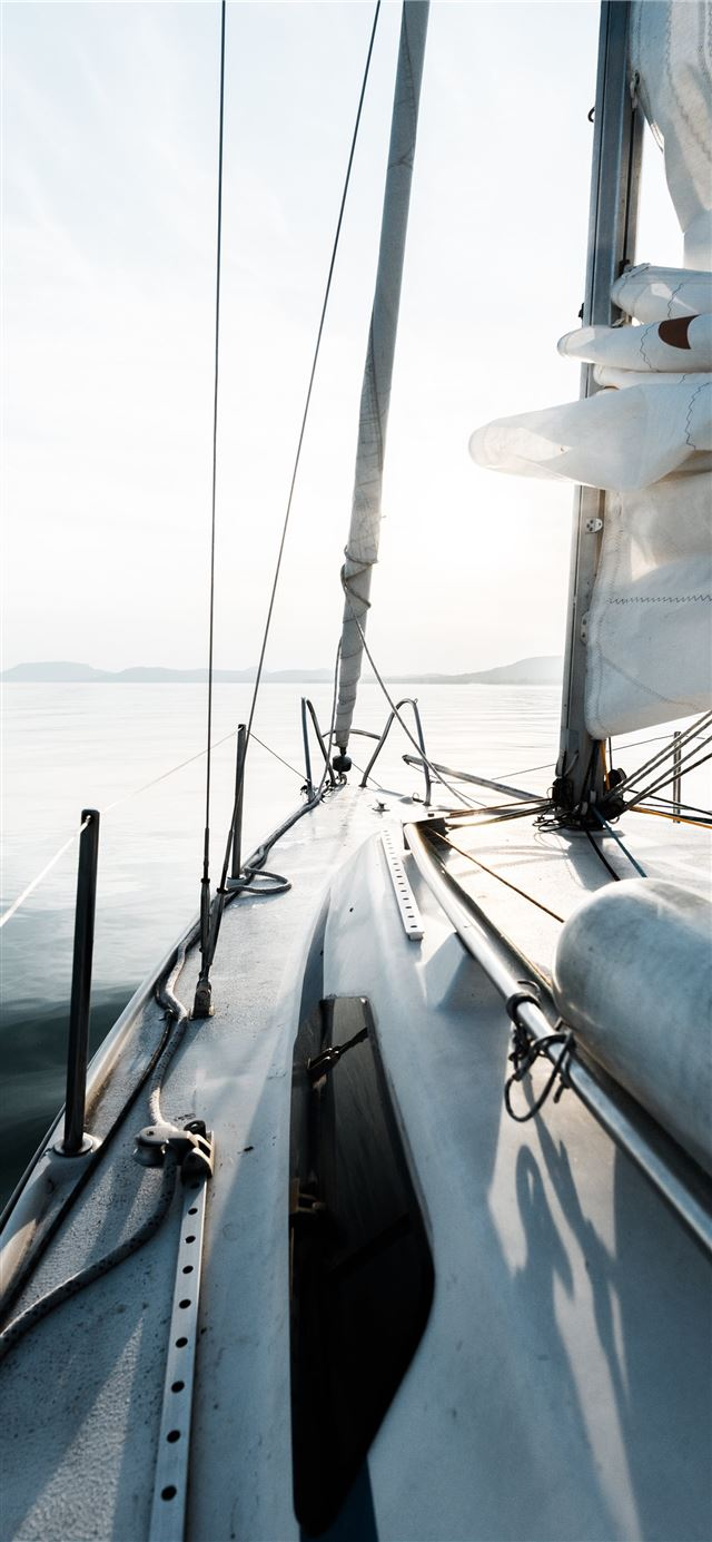cabin cruiser at the sea during day iPhone 12 wallpaper