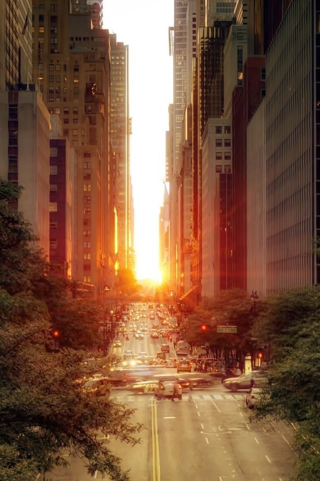 Sun Rising Over A Street 2 iPhone 4s wallpaper