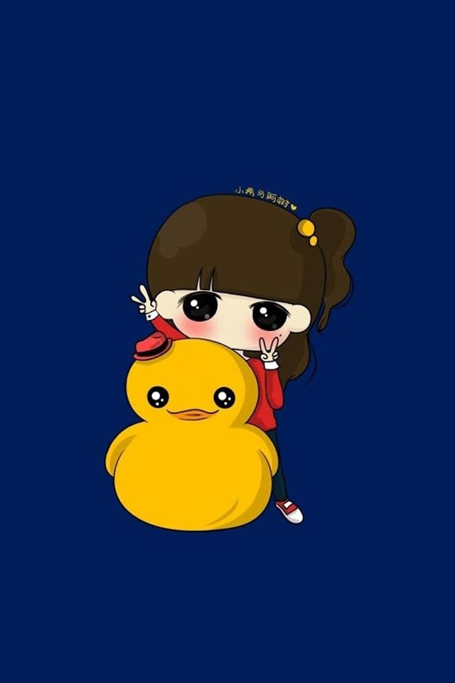 Little yellow duck with girl iPhone 4s wallpaper