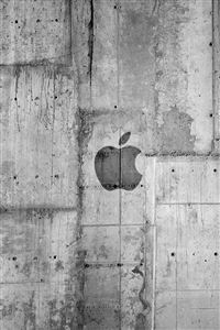 Apple Logo Concrete Wall iPhone 4s wallpaper