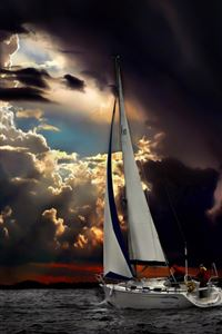 Navigation Sea Dark Clouds Storm iPhone 4s wallpaper