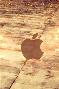 Apple Logo Wood Floor iPhone 4s wallpaper