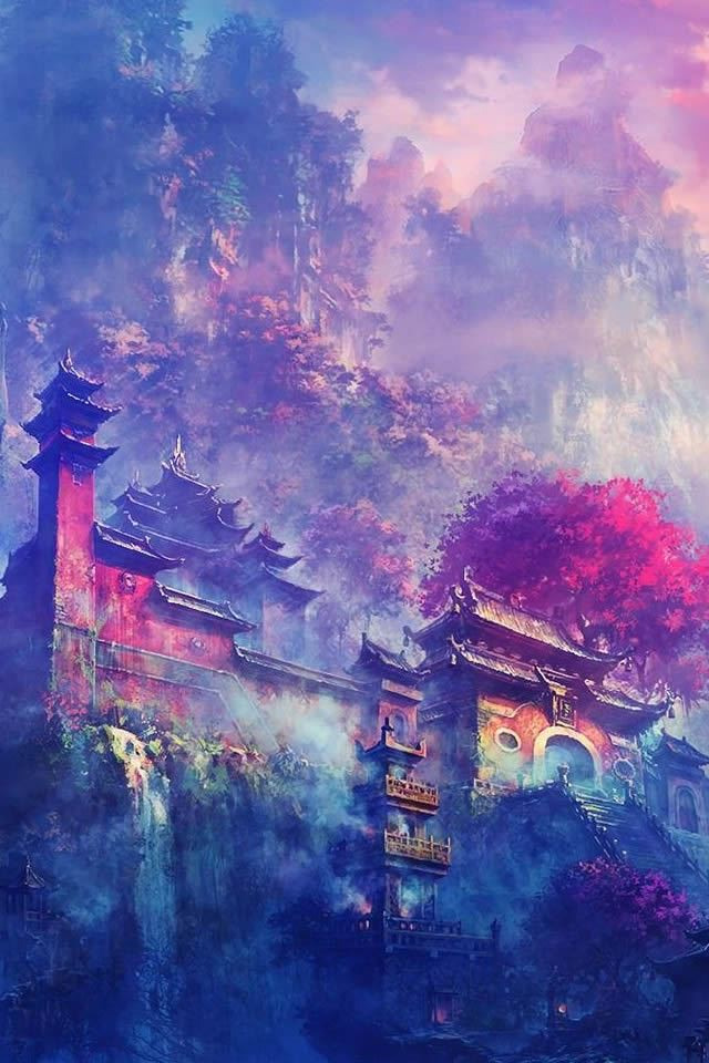 Asian Village In The Mountains Fantasy iPhone 4s wallpaper