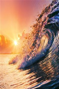 Surging Wave Under Sunrise iPhone 4s wallpaper