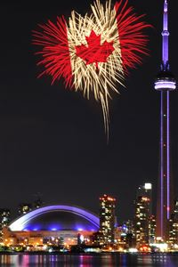 Night Cityscape Canada Maple Firework iPhone 4s wallpaper