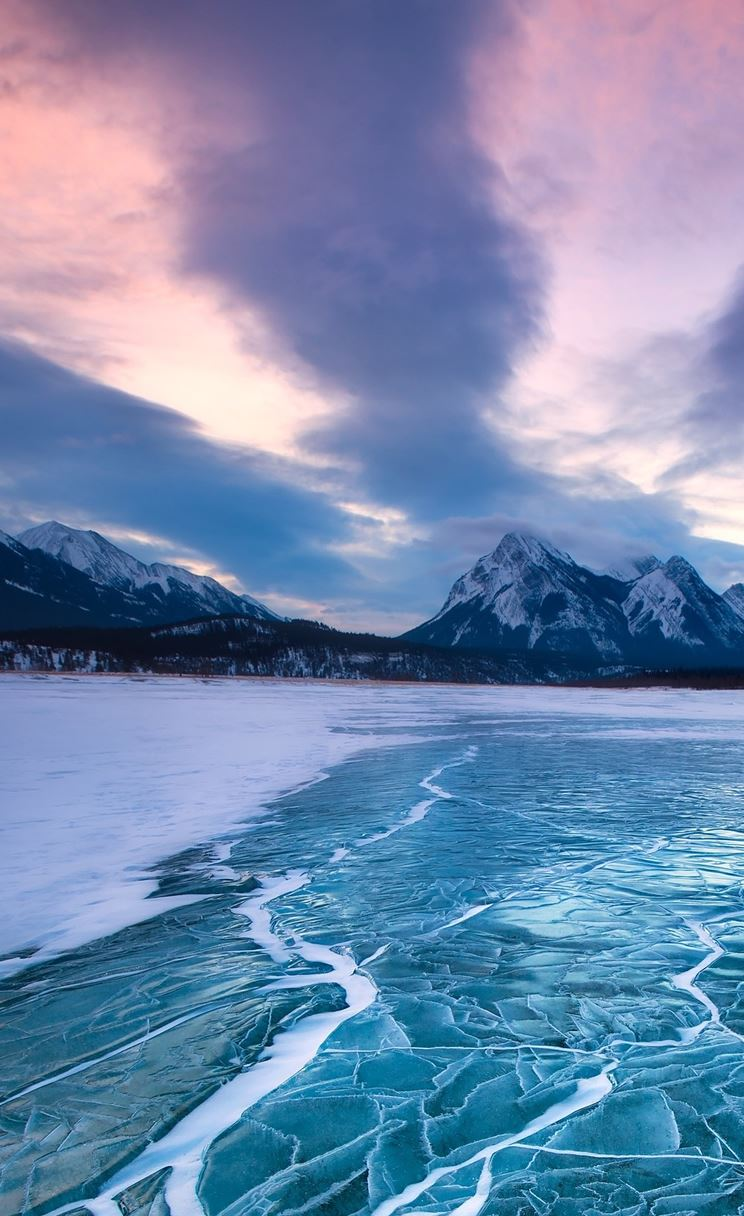 Nature Frozen Icy Lake Landscape iPhone 4s wallpaper