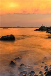 Sunset Sea Rock Wave iPhone 4s wallpaper