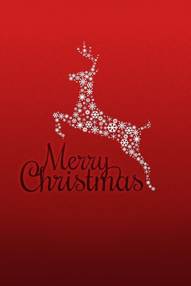 Merry Christmas Red Background Rudolf Reindeer iPhone 4s wallpaper
