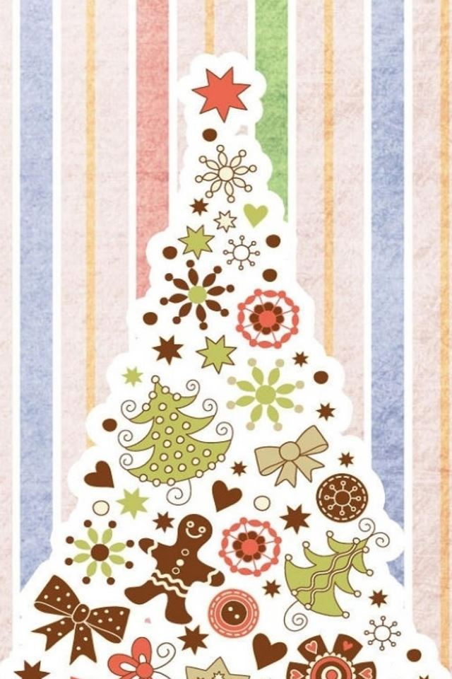 Abstract Christmas Tree Decorations Background iPhone 4s Wallpaper ...