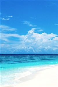 Nature Pure Blue Ocean Surface Cloudy Sky iPhone 4s wallpaper