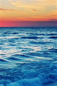 Nature Beach Wave Sunset Landscape iPhone 4s wallpaper