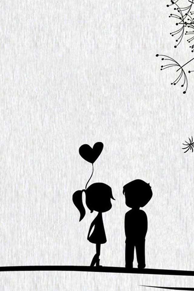 Black And White Little Lovers Art Drawn Iphone 4s Wallpaper