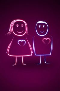 Cute Heartbeating Lover Couple iPhone 4s wallpaper
