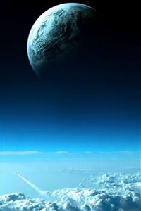 Beautiful Blue Cloudy Space iPhone 4s wallpaper