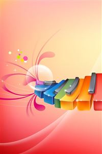 Colorful Piano iPhone 4s wallpaper