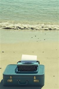 Cyan Ocean Beach Retro Suitcase Printing Fax iphone 4s wallpaper ilikewallpaper com 200