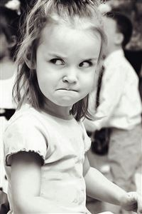 Cute Angry Girl Expression Black And White iPhone 4s wallpaper