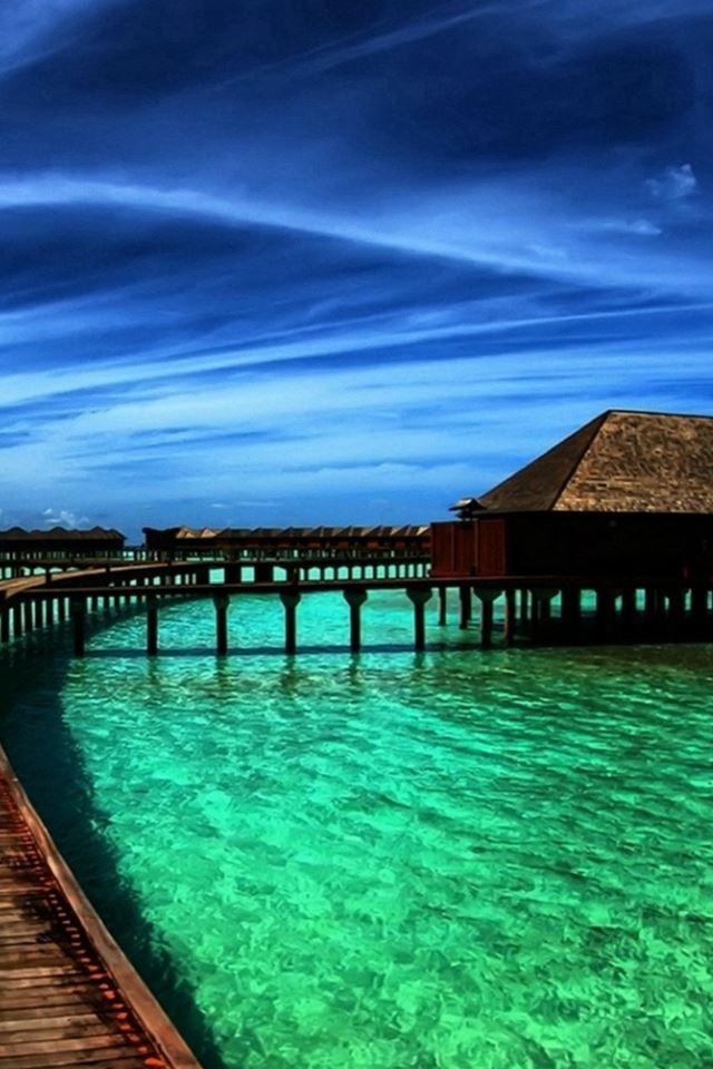 Fantasy Beautiful Ocean Maldives View iPhone 4s wallpaper