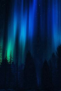 Aurora Night Sky Dark Blue Nature Art iPhone 4s wallpaper