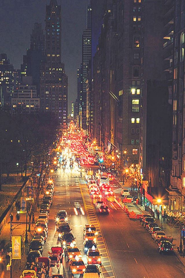 Busy New York Street Night Traffic iPhone 4s wallpaper