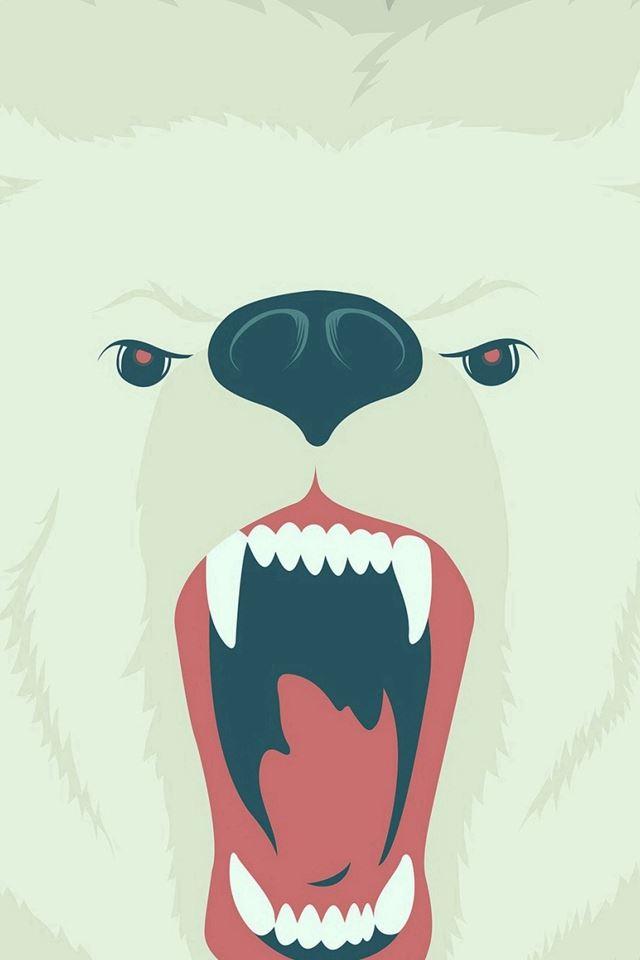 Fierce Polar Bear Winter Cartoon Illust iPhone 4s ...