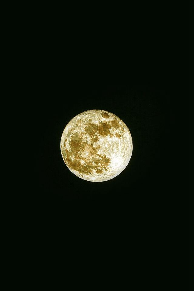 Whole Moon Yellow Dark Nature Space Sky iPhone 4s wallpaper