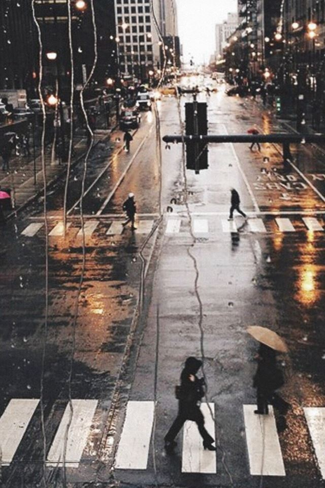 Rainy City View Outside Window Glass Street View iPhone 4s wallpaper