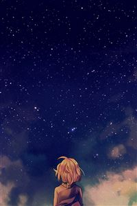 Starry Space Illust Anime Girl iPhone 4s wallpaper